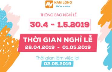 THÔNG BÁO LỊCH NGHỈ LỄ 30/4 VÀ 1/5 NĂM 2019